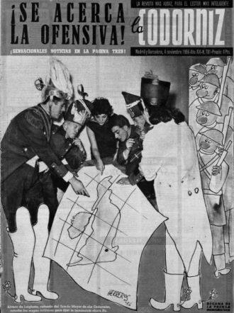 Portada de un número de La Codorniz durante la guerra que el hebdomadario  declaró a Inglaterra en 1956. De izquierda a derecha: Álvaro de  Laiglesia, Enrique Herreros, Sara Montiel, Rafael Azcona, Fernando  Perdiguero y Remedios Orad.